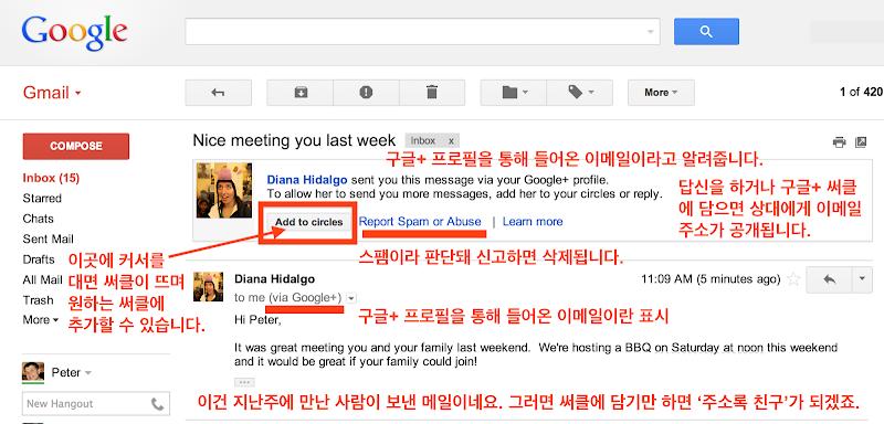 Google+를 통해서 온 이메일
