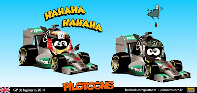 неудача постигает Нико Росберга - комикс pilotoons по Гран-при Великобритании 2014