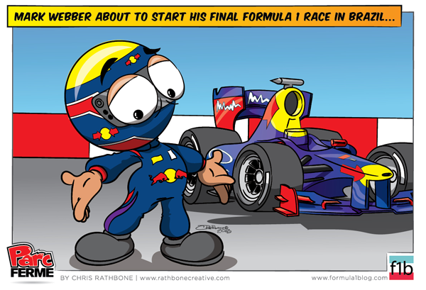 Марк Уэббер в последней гонке за Red Bull - комикс Chris Rathbone по Гран-при Бразилии 2013