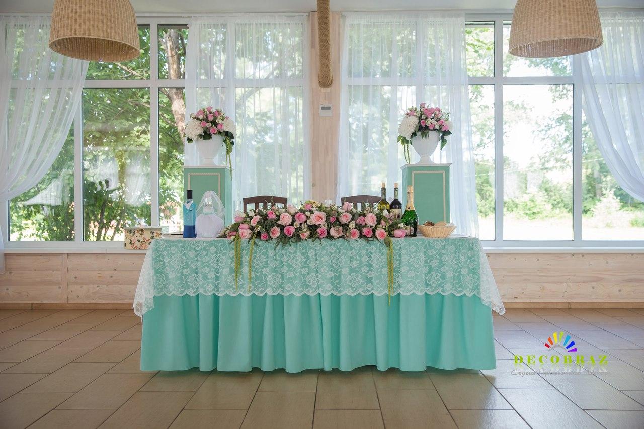 Оформление свадьбы в бирюзово-розовом цвете фото