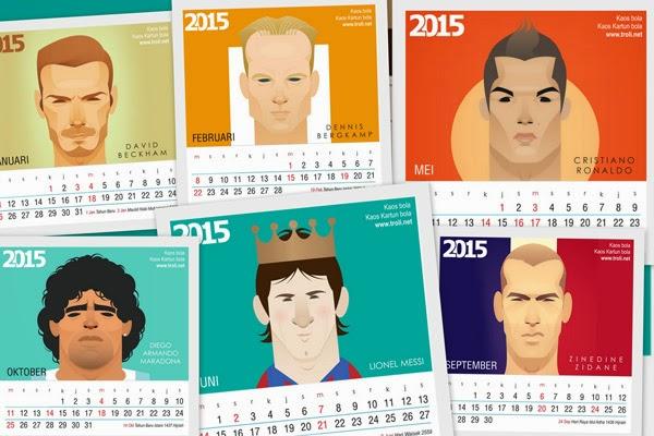 Kalender meja 2015 football cartoon series