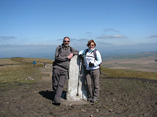 David and Josie at Pendle Hill Trig Point