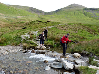 Crossing the beck. David Hall had joined us by this point. We met him near a sheepfold below Coledale Hause.