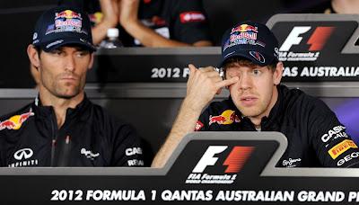забавный Марк Уэббер и Себастьян Феттель на пресс-конференции в четверг на Гран-при Австралии 2012