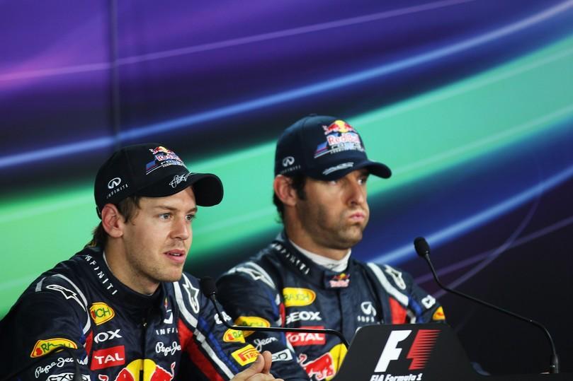 Себастьян Феттель и Марк Уэббер на пресс-конференции после квалификации на Гран-при Индии 2011