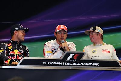 Себастьян Феттель Дженсон Баттон Кими Райкконен на пресс-конференции победителей и призеров Гран-при Бельгии 2012