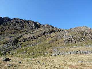 Our way on to the Great End ridge is at the dip on the skyline