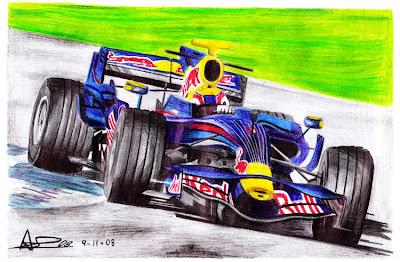 рисунок Марк Уэббер Red Bull 2008 by adrilozano