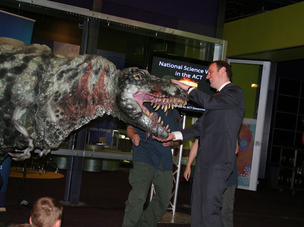 andrew barr with dinosaur