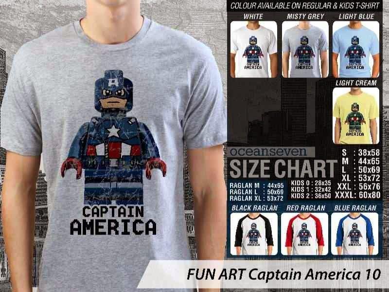 KAOS Captain America 10 Kartun Lucu distro ocean seven