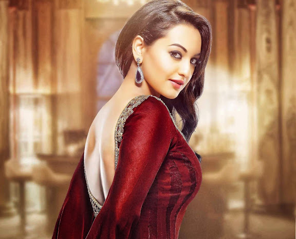 Sonakshi Sinha Cute Smiling Face Photos in Red Color Lehenga Suit