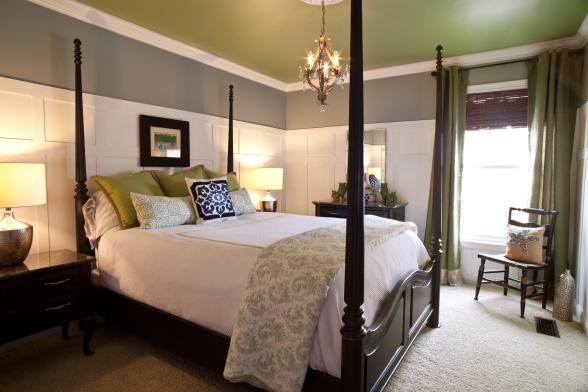 schlafzimmer grün grau