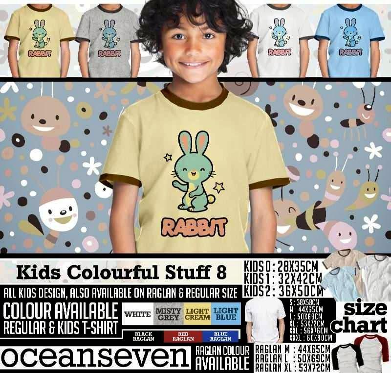 Kaos anak Kids Colourful 8 Lucu Gambar Rabbit distro ocean seven
