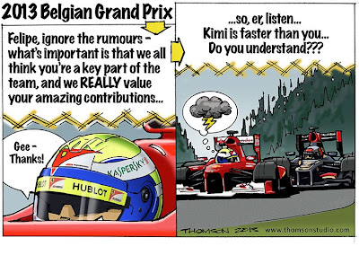Фелипе Масса под атаками Кими Райкконена - комикс Bruce Thomson по Гран-при Бельгии 2013