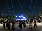 The Universal Studios theme park at night