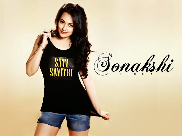 Sonakshi Sinha Beautiful Pics in Sati Savitri Black Color Tank Top and Mini Jeans Dress