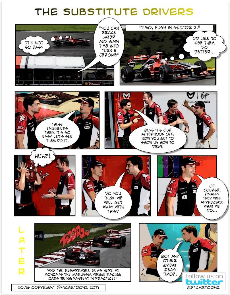 комикс F1cartoonz о Marussia Virgin и ее пилотов на Гран-при Италии 2011 в Монце