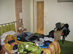 The chaos of our room before checking out