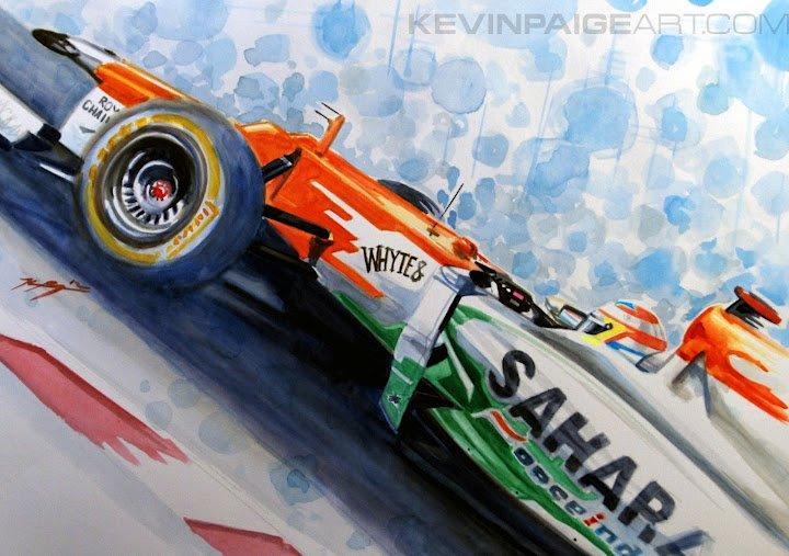 Пол ди Реста Force India - рисунок Kevin Paige