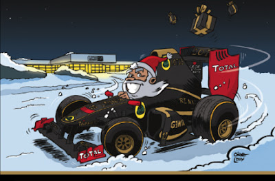 Санта за рулем Lotus Renault GP - Рождественский комикс Cirebox