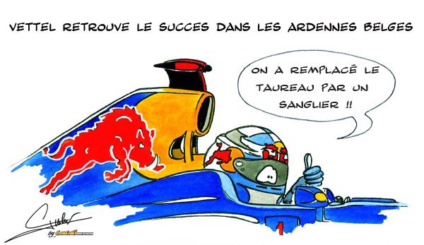 комикс Quentin Guibert по Гран-при Бельгии 2011 о Себастьяне Феттеле и причине его успеха