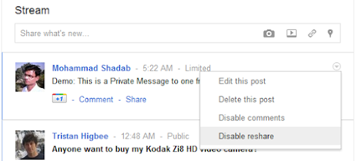 private message to google plus