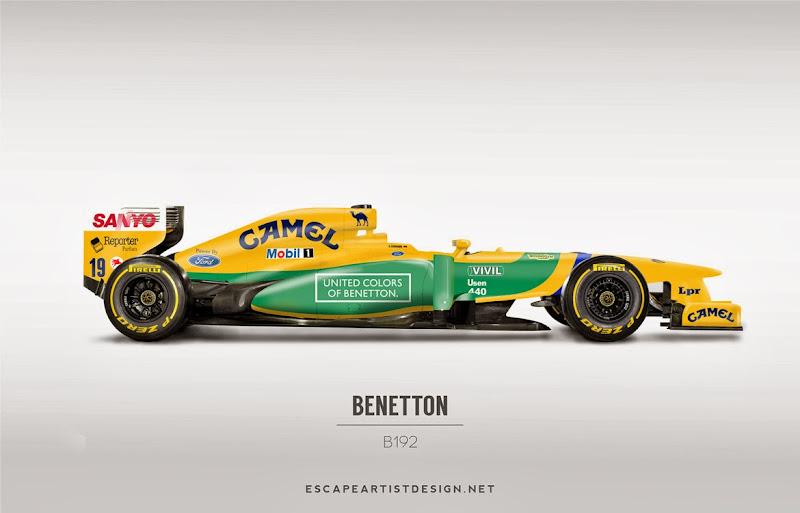 современный болид в раскраске Benetton B192 - Escape Artist Design