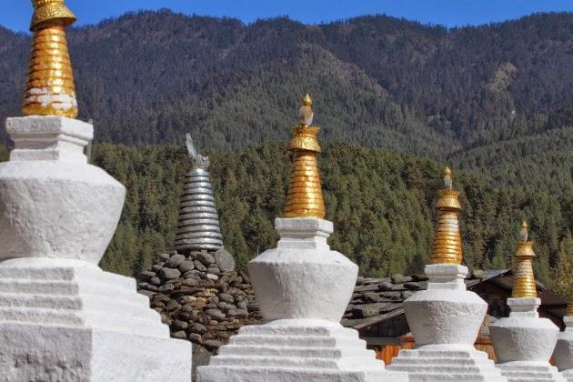 Line of chortens at Kurje Lakhang temple, Bumthang