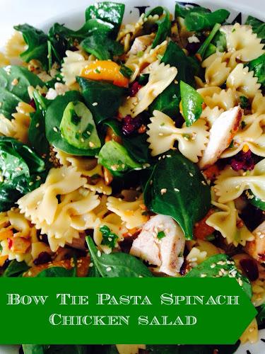 Bow tie pasta spinach chicken salad, Chinese chicken salad www.thestylesisters.blogspot.com