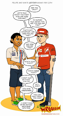 Фелипе Масса и Кими Райкконен любезничают после гонки - комикс It Goes Wrooom по Гран-при Великобритании 2014