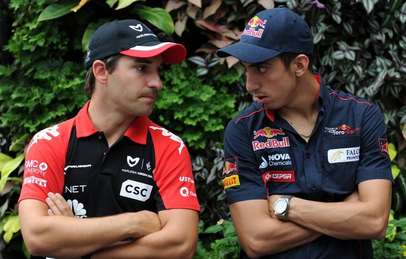 Тимо Глок и Себастьян Буэми перед пресс-конференцией в четверг на Гран-при Сингапура 2011