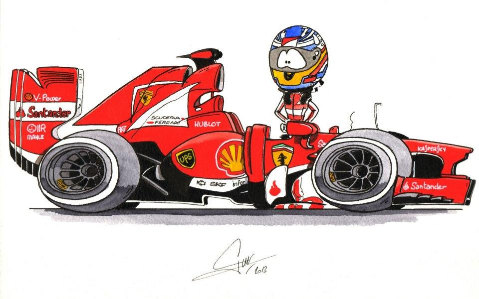 Фернандо Алонсо Ferrari 2013 - комикс Quentin Guibert