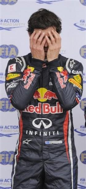 Марк Уэббер фэйспалмит после квалификации на Гран-при Германии 2011