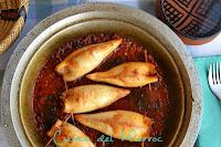 Calamars farcits d'arròs a la chermoula