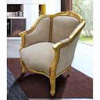Grande bergère de style Louis XV tissu taupe et bois doré