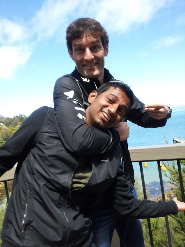 Марк Уэббер душит sanjeev palar в Тасмании 2011 via sanjeevpalar