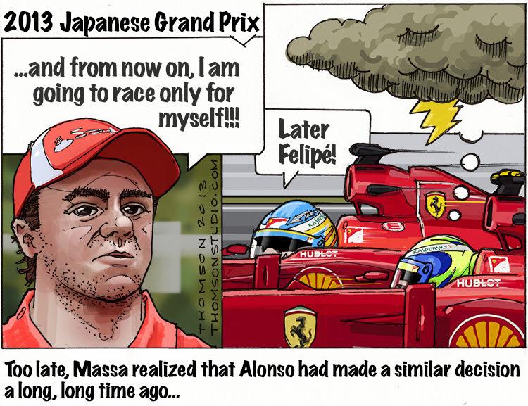 запоздалое решение Фелипе Массы - комикс Bruce Thomson по Гран-при Японии 2013