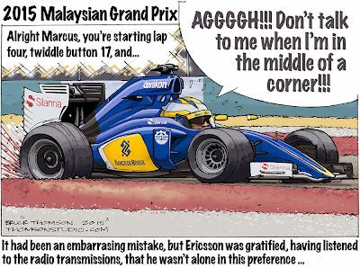 Маркус Эрикссон на Sauber ошибается и улетает в гравий - комикс Bruce Thomson по Гран-при Малайзии 2015