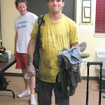 """Yup, I got muddy...and the rest of the band was waiting in the dressing room to laugh at me...sorry Leta, I ruined the """"Chicken Shack"""" shirt"""
