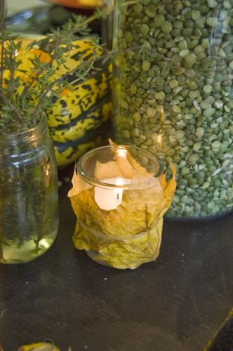 leaf wrapped candles