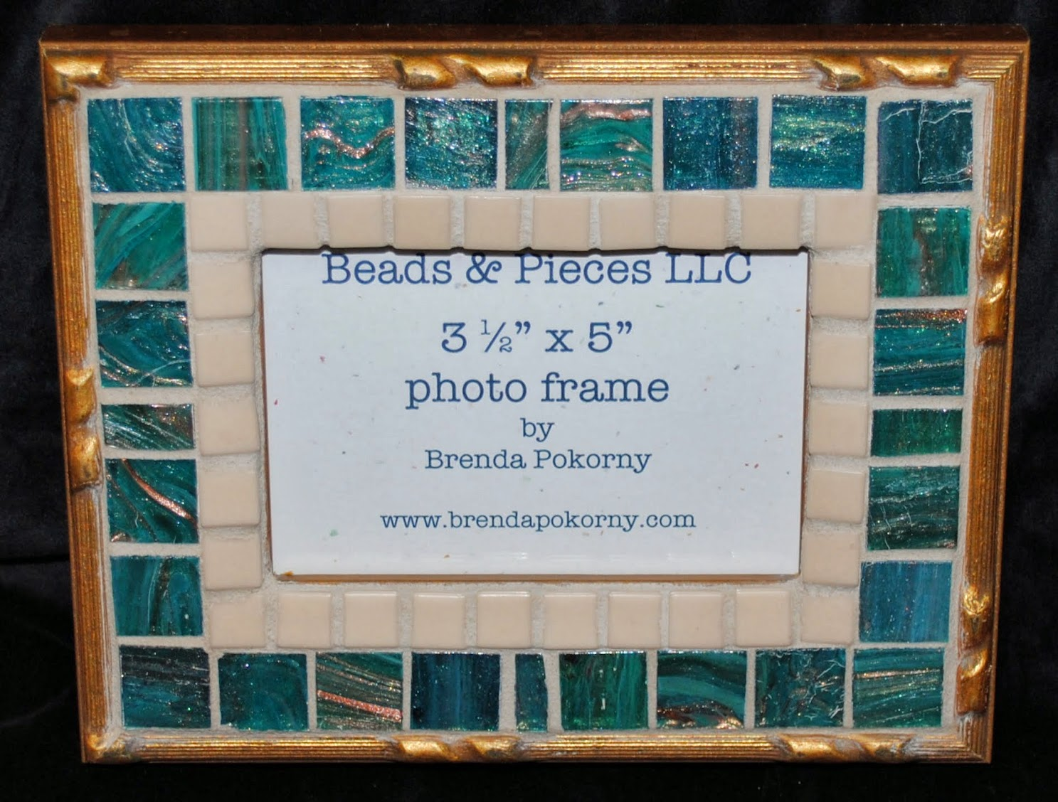 "Gold & Soft Teal 3 1/2"" x 5"" Mosaic Photo Frame MOF1380"