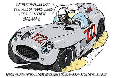 Стирлинг Мосс за рулем Mercedes с номером 722 на гонке Милле Милья - комикс Jim Bamber