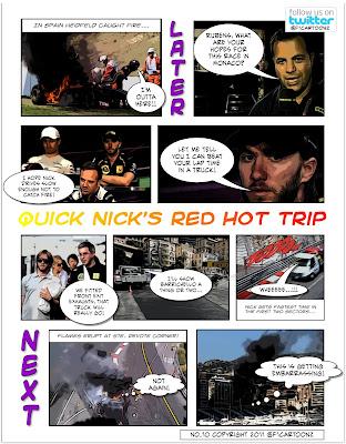 фотокомикс F1cartoonz про горячего и быстрого Ника Хайдфельда в дни уикэнда на Гран-при Монако 2011