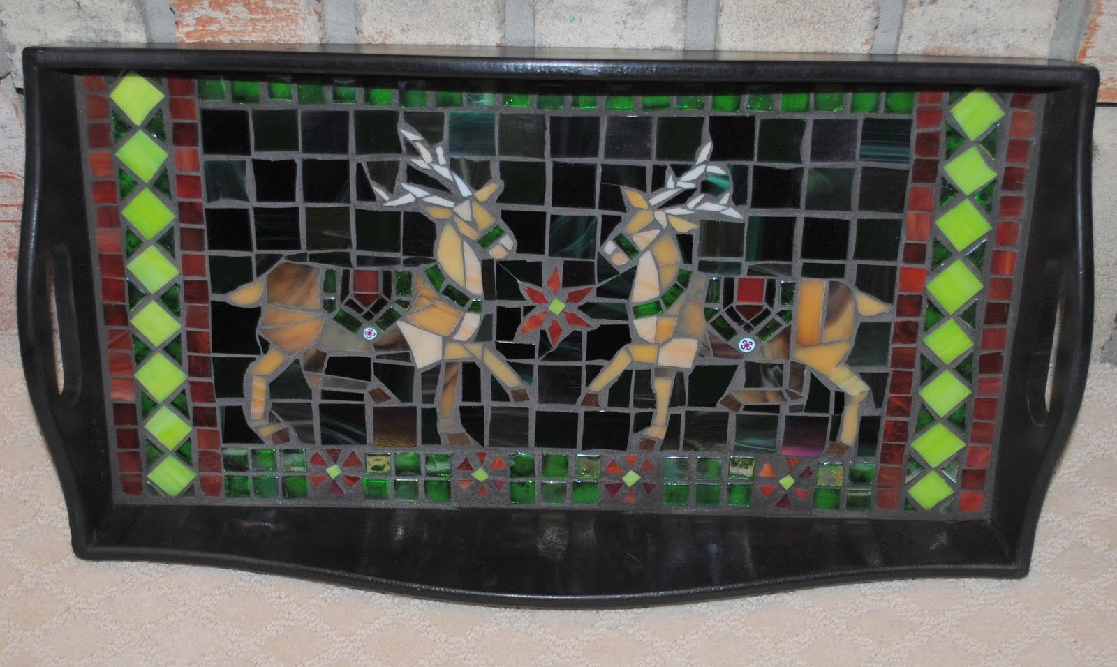 MOT3025 Dancer & Prancer Mosaic Serving Tray