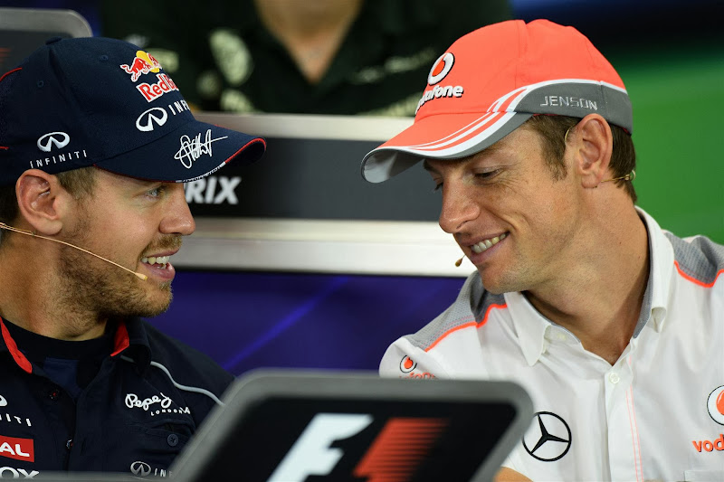 Себастьян Феттель и Дженсон Баттон на пресс-конференции в четверг на Гран-при Японии 2013