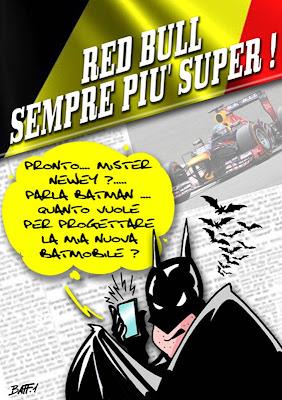 Бэтмен предлагает работу Эдриану Ньюи над Бэтмобилем - комикс Baffi по Гран-при Бельгии 2013