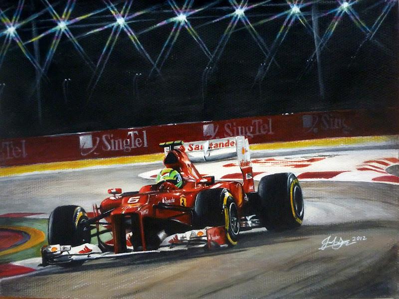 Фелипе Масса Ferrari - рисунок ночной трассы Марина Бэй