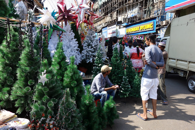 Plastic Christmas trees at Crawford Market.