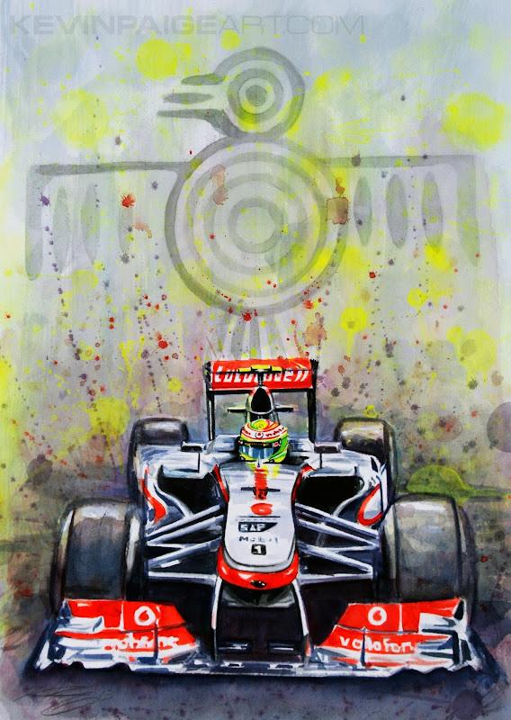 Серхио Перес McLaren MP4-28 - рисунок Kevin Paige Art