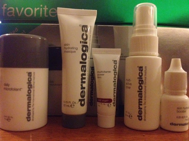 Dermalogica daily microfoliant, skin hydrating masque, multivitamin powder, multi-active toner and skin hydrating booster